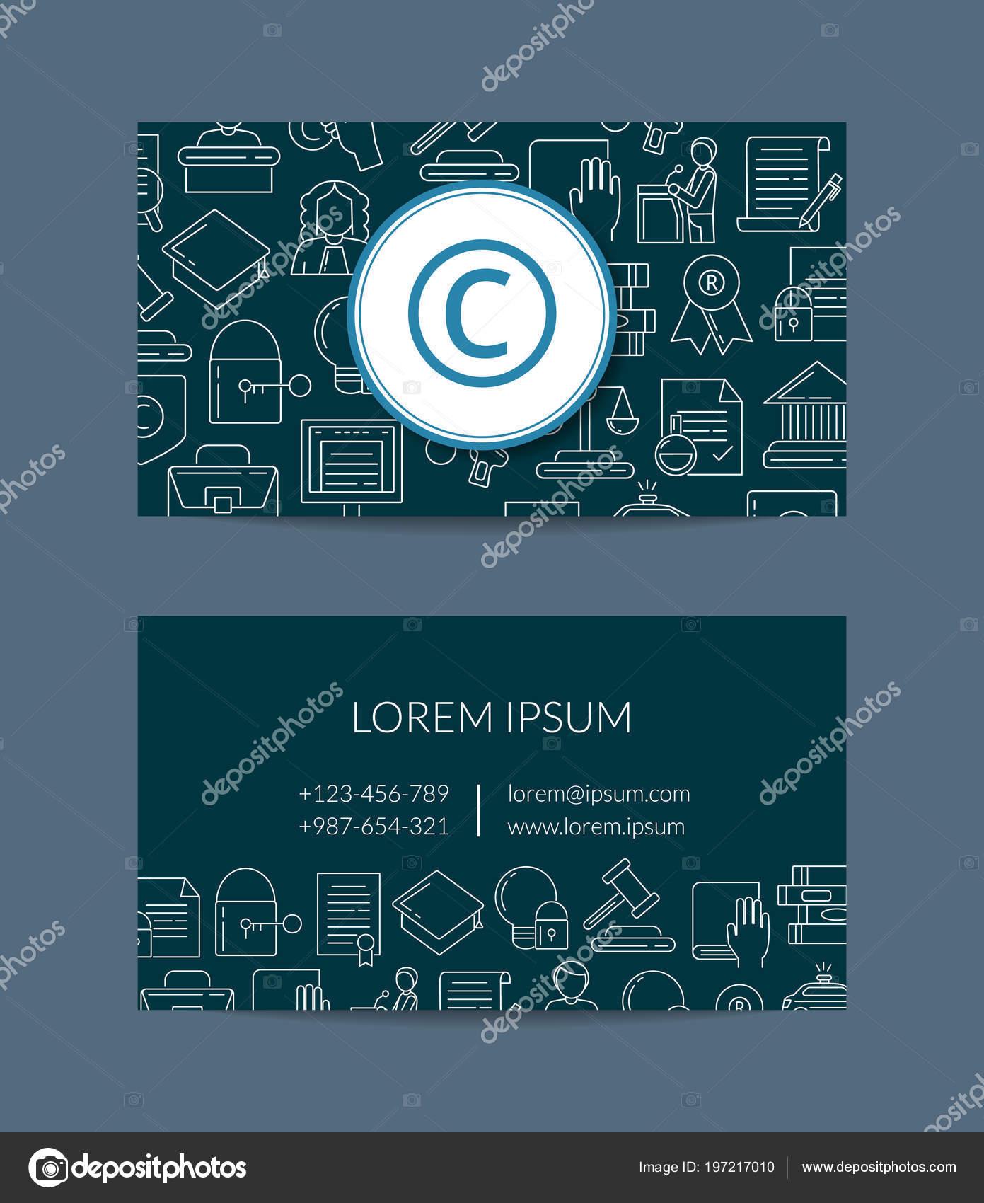 Vector Style Lineaire Des Elements Du Droit Dauteur Business Modele De Carte Davocat Ou Dun Protegent Les Illustration La Societe