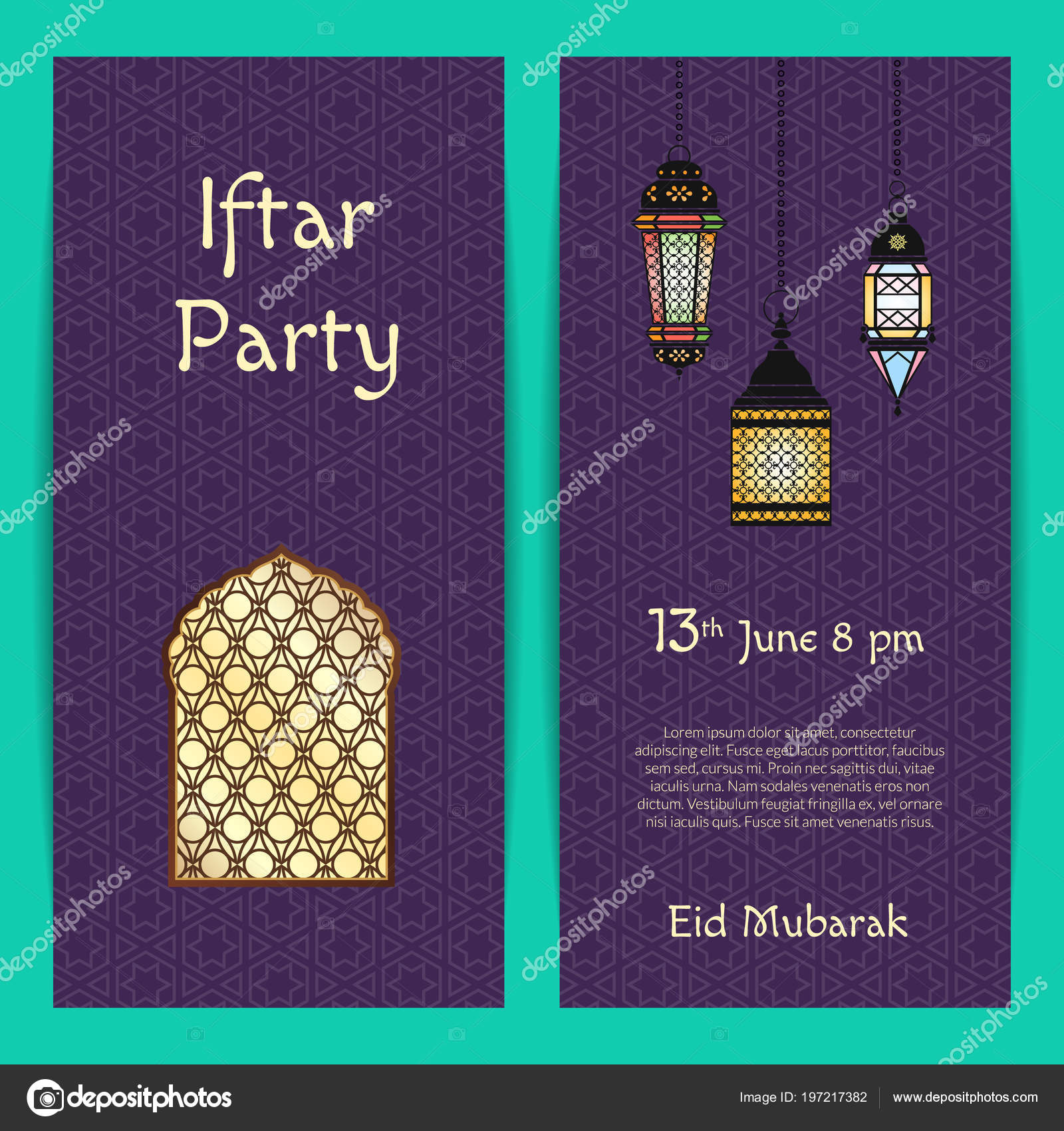 Vector ramadan iftar party invitation card template with lanterns vector ramadan iftar party invitation card template with lanterns and window with arabic patterns stock stopboris Gallery