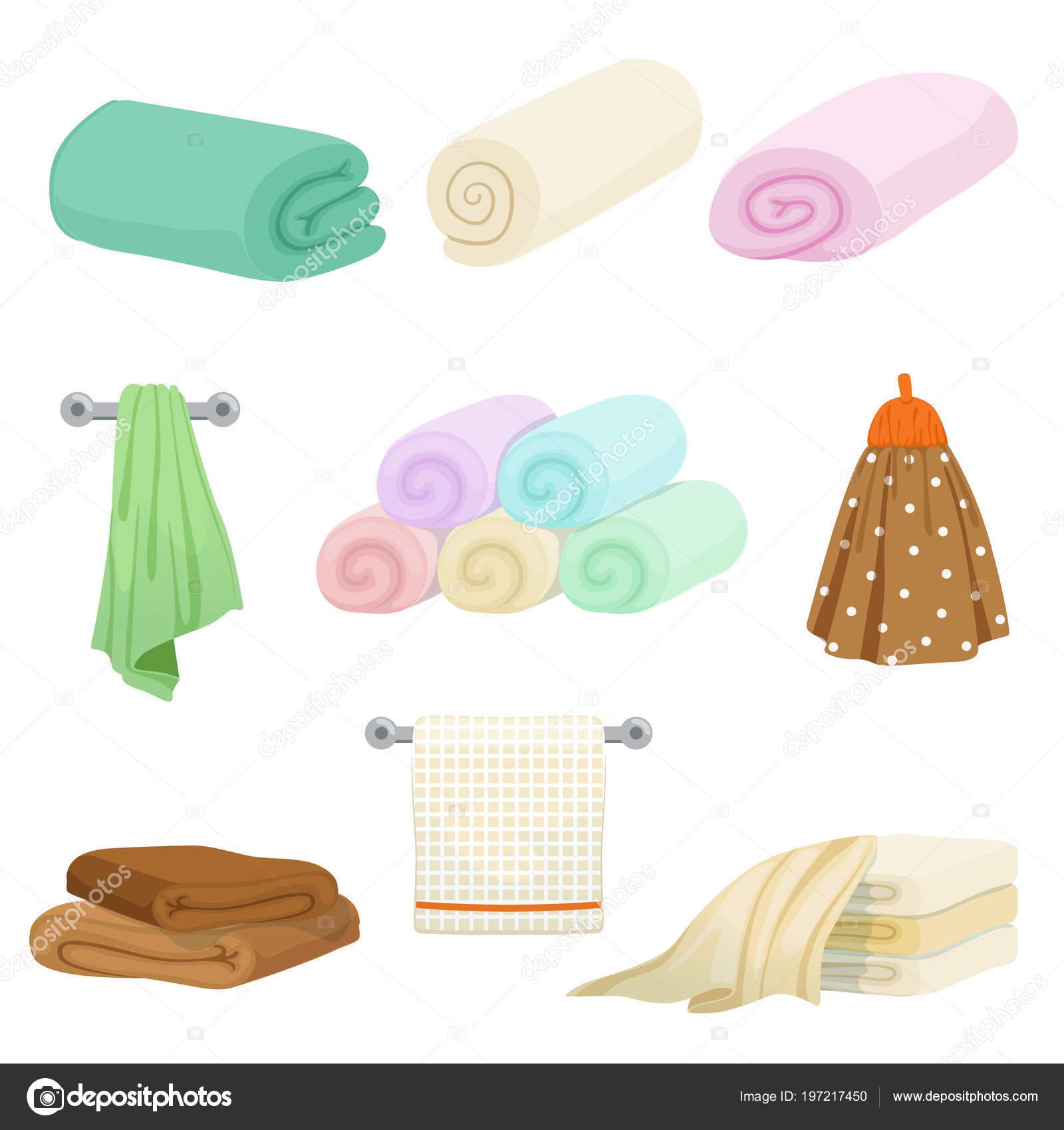 Toallas para cocina y baño de color diferente. Imágenes de ...