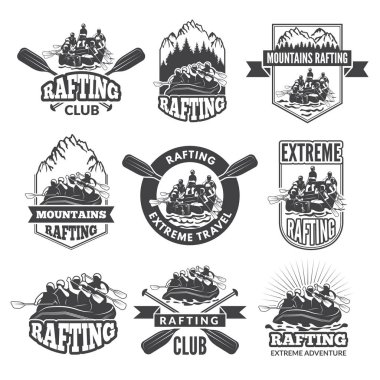 Vintage monochrome labels for dangerous water sports. Symbols of rafting. Pictures of kayak