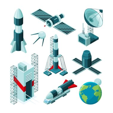Isometric pictures of different tools and constructions for space center