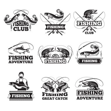 Fishing club badges or labels design template with place for your text