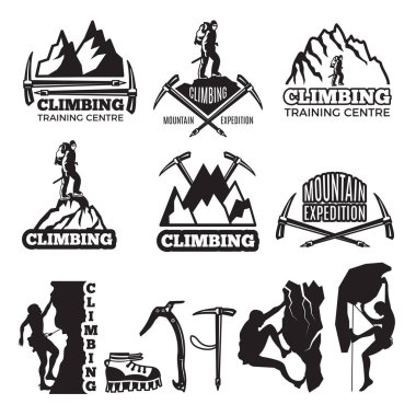 Mountain climbing and different equipment. Vector labels template with place for your text