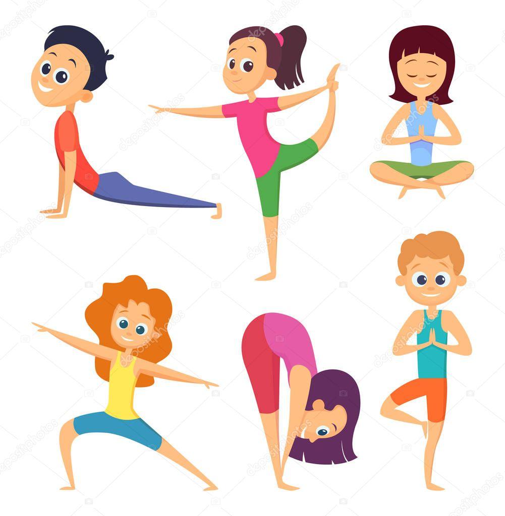 Imagenes De Personas Felices Para Colorear: Yoga Para Niños. Felices Los Niños Realizar Diferentes
