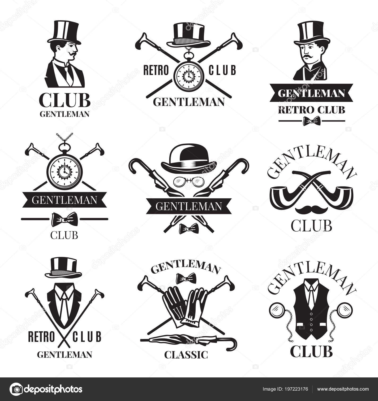 Retros tarjetas o etiquetas para club caballeros. Plantilla de ...