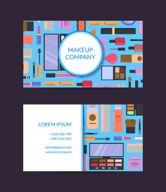 Vector business card template for beauty brand or makeup artist with flat style makeup and skincare