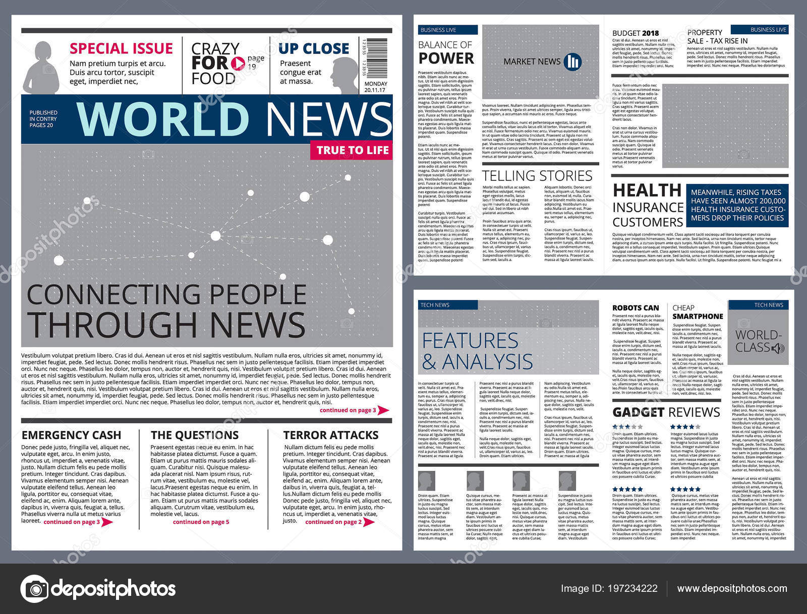 Different Articles In Newspaper Vector Design Template With Place