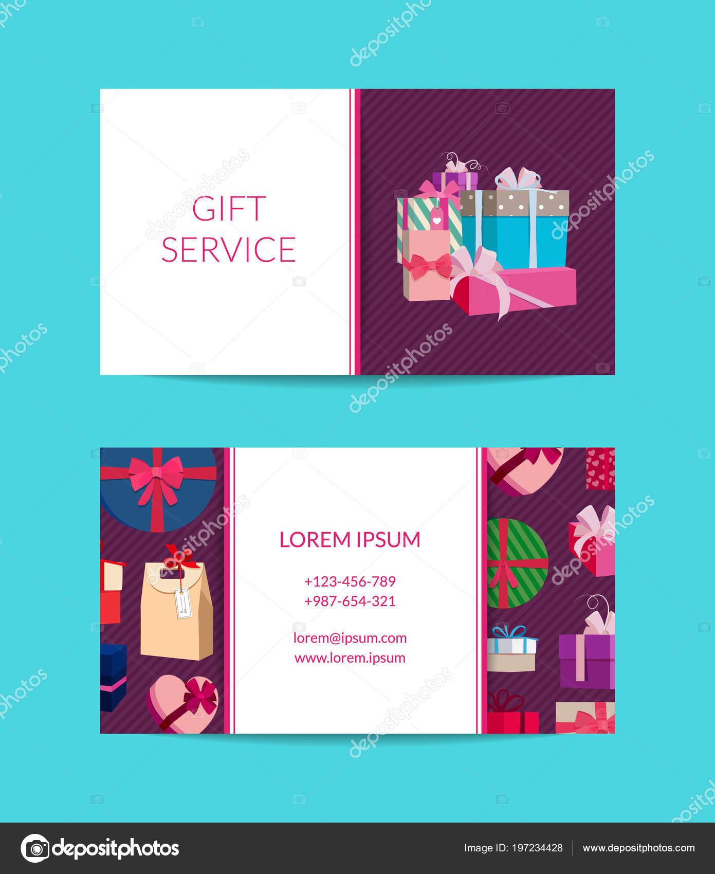 Service De Cadeau Vecteur Modle Carte Visite Boutique Image Vectorielle
