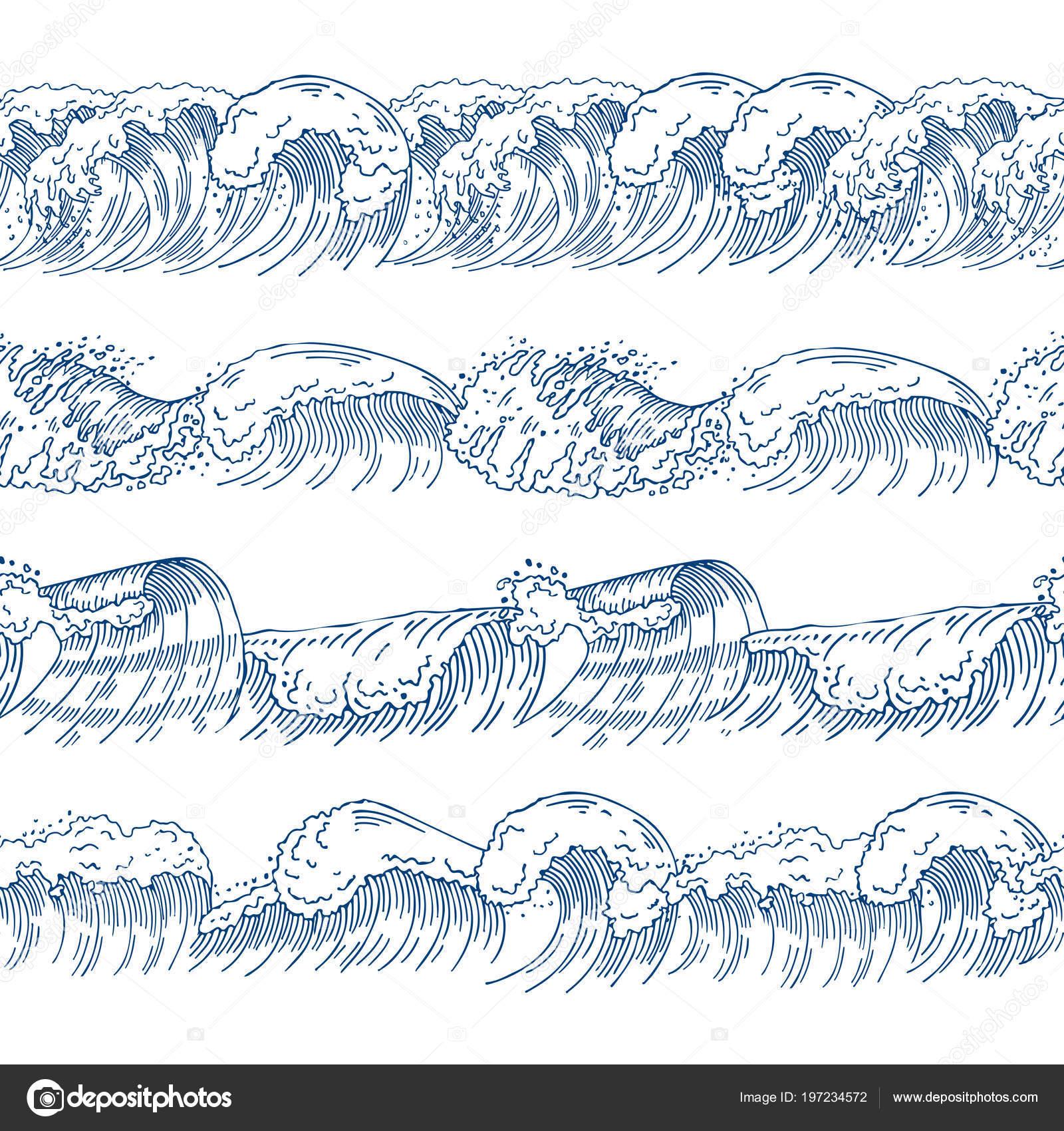 Patrones sin costura horizontales con las olas diferentes. Conjunto ...