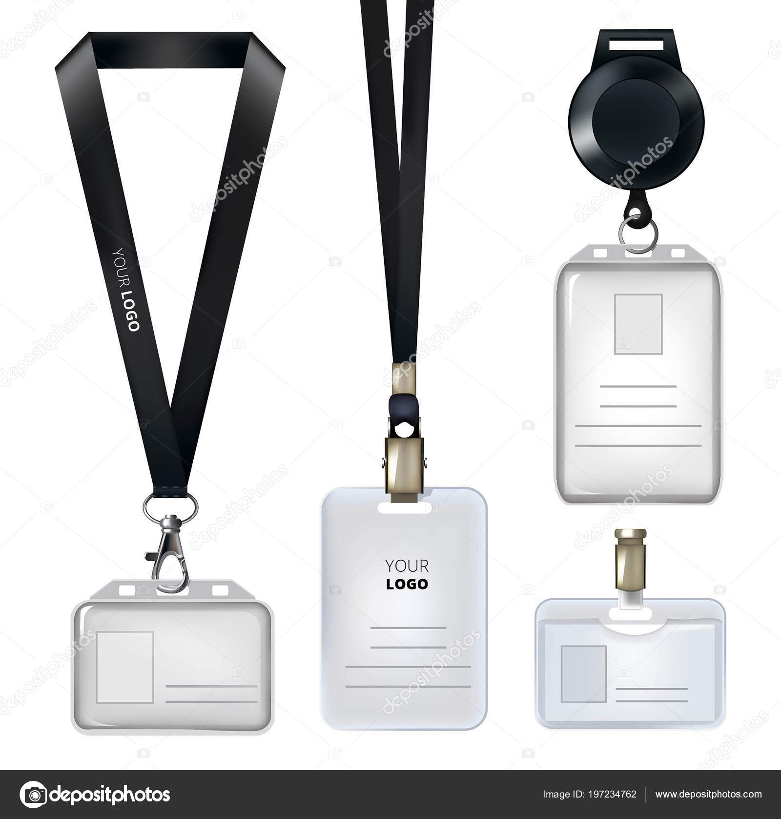 realistic template of identification card or personal badges stock
