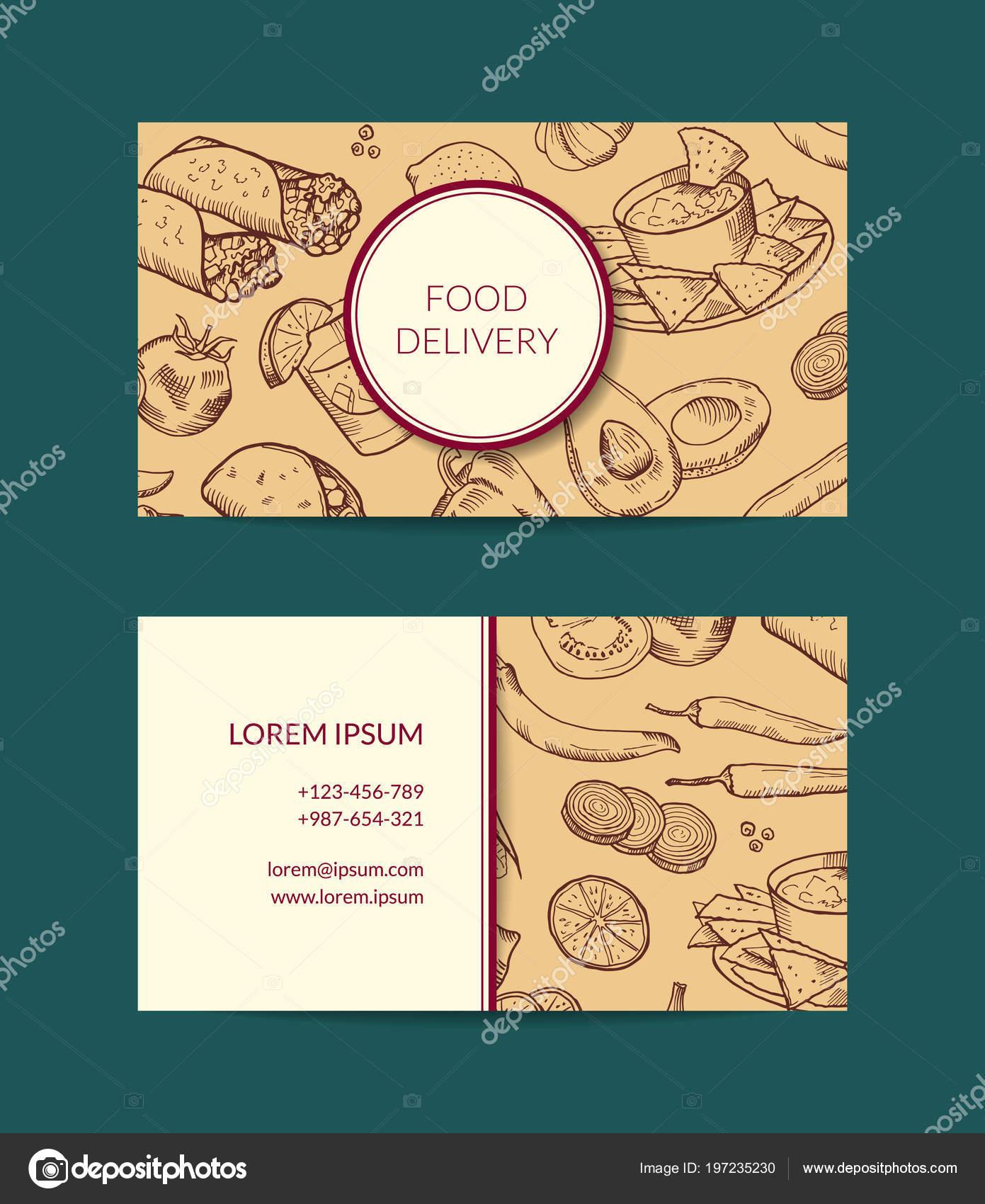 Modele De Carte Visite Vecteur Pour Restaurant Magasin Ou Cafe Illustration Stock