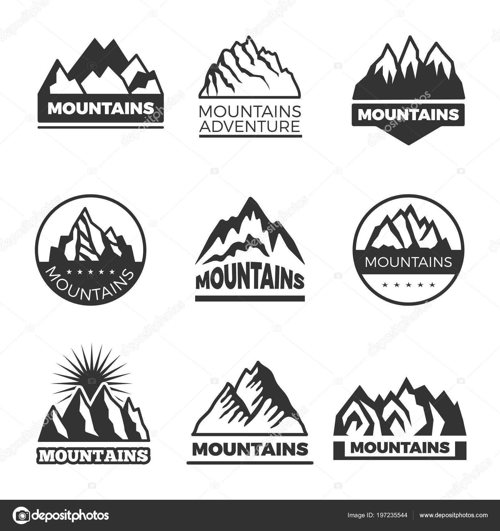 Etiquetas con diferentes ilustraciones de montañas. Plantillas para ...