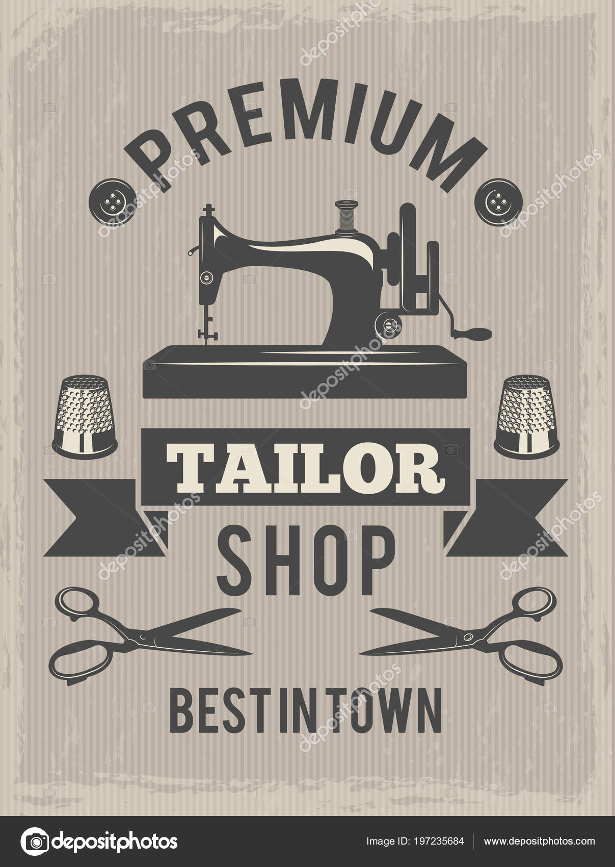Retro Poster For Tailor Shop Placard With Symbols Of Textile