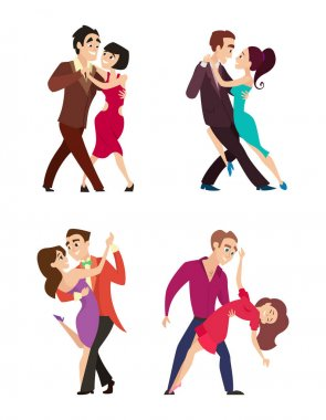 Funny couples dancing latin and foxtrot dance. Male and female characters isolate on white