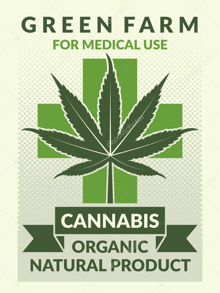 Medical poster with illustrations of leaf of marijuana