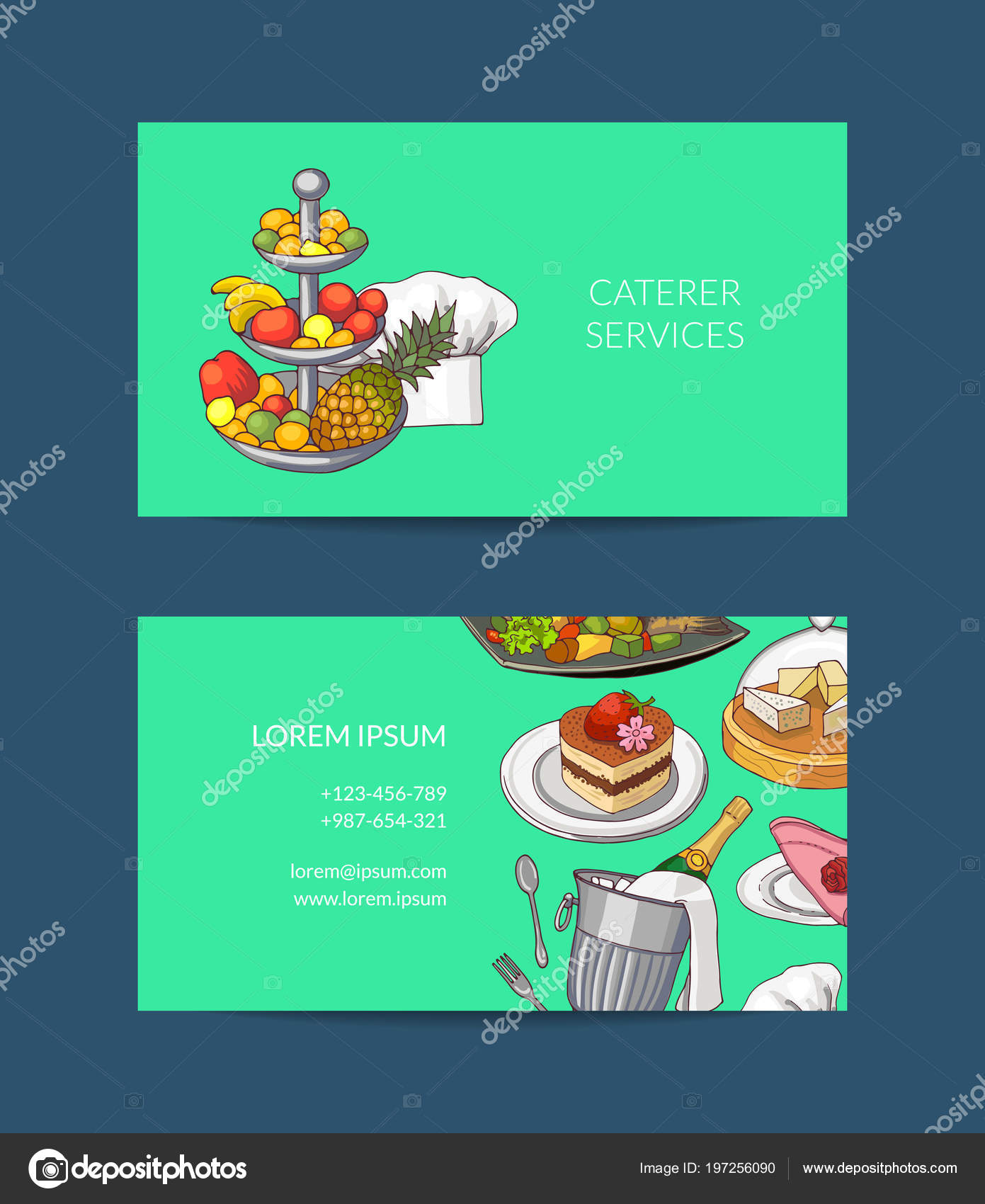 Vector business card template for restaurant or caterer — Stock ...