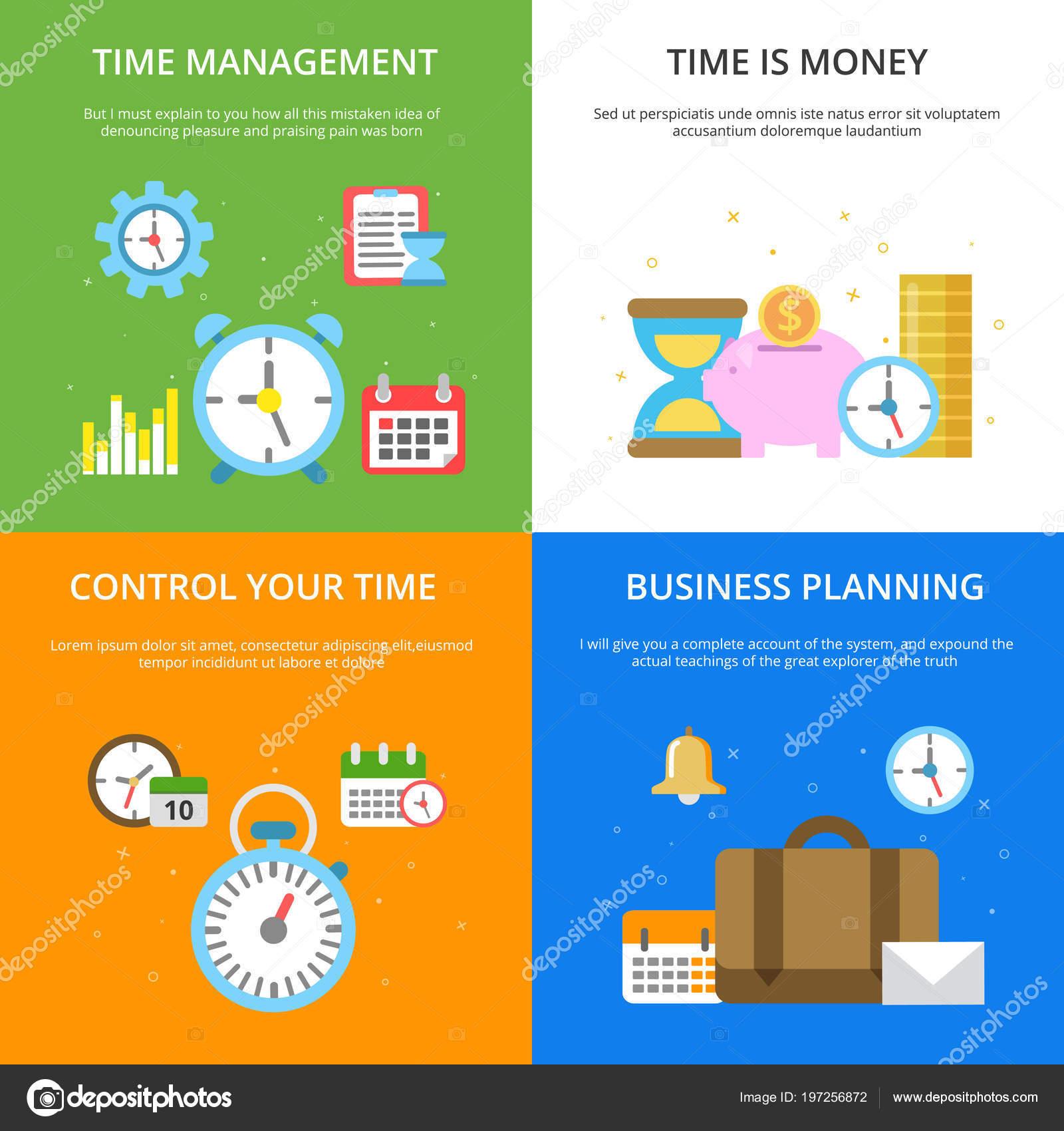 Konzept Illustrationen Zum Thema Zeit Management. Vektor Bilder Im Modernen  Flachen Stil