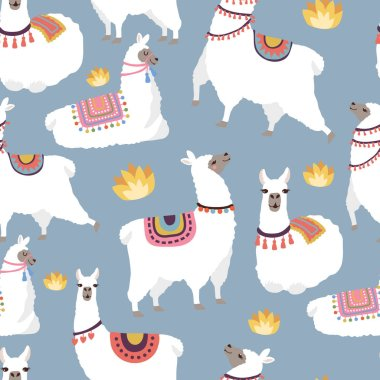 Colored illustrations for textile pattern with illustration of llamas