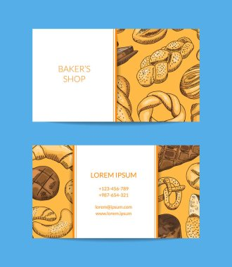 Vector business card template for shop, delivery with hand drawn bakery