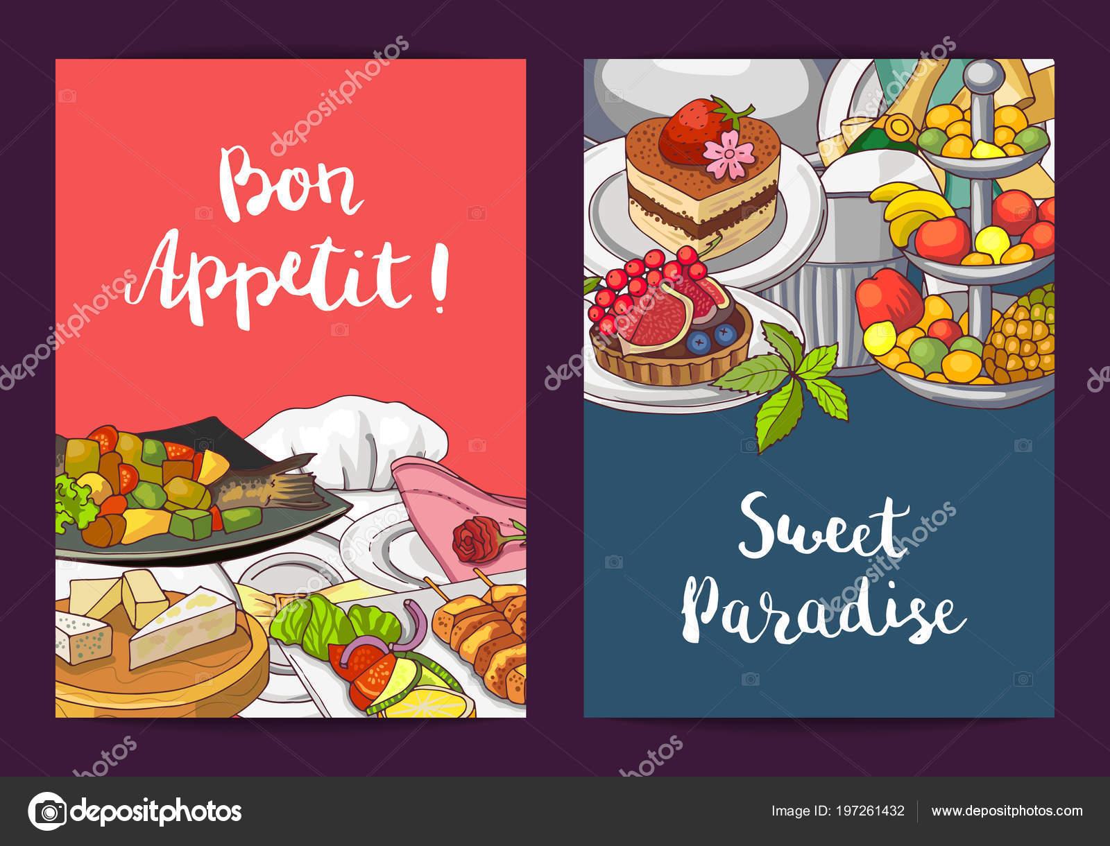 Vector tarjeta o flyer plantillas con restaurante dibujado mano ...