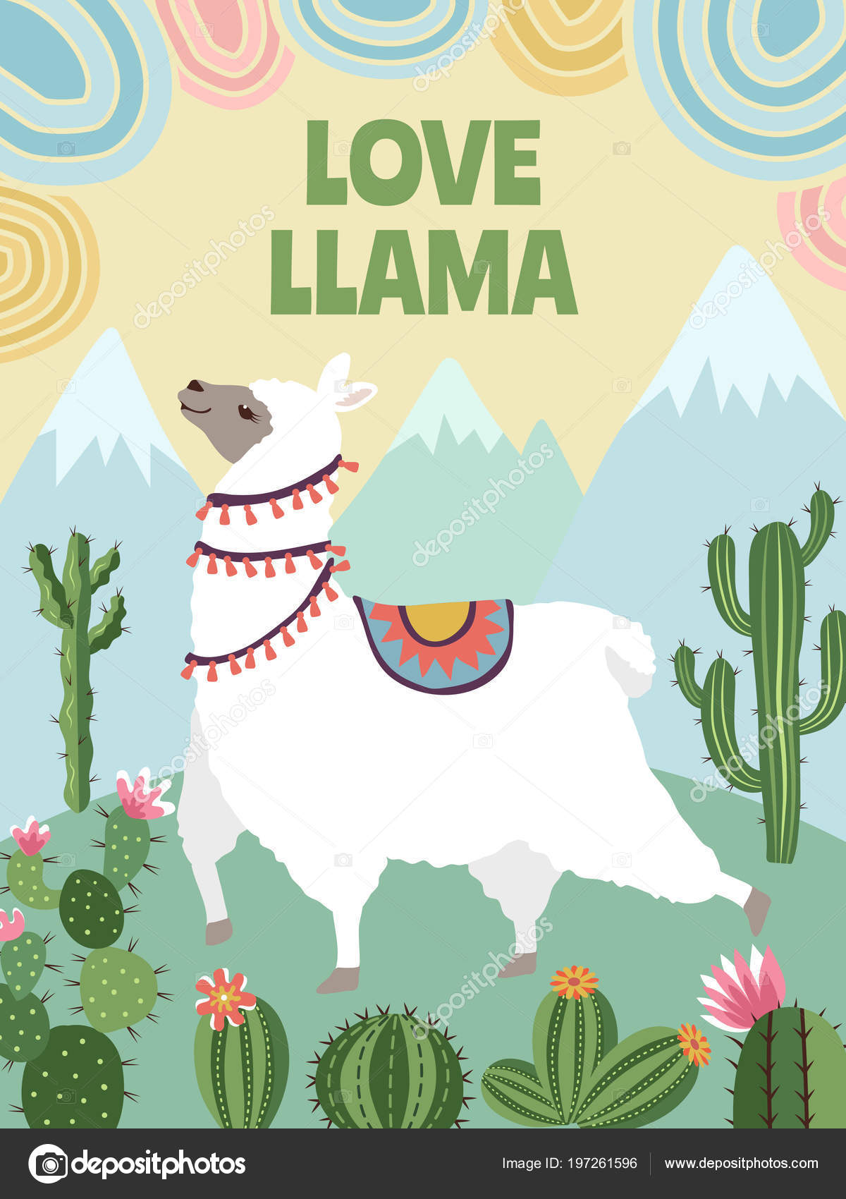 background vector picture of llama mountains and cactus cartoon