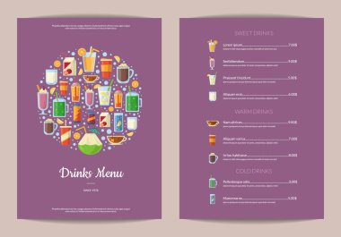 Vector vertical menu template with nonalcoholic drinks in glasses, like smoothie, tea, coffee, juice in flat style