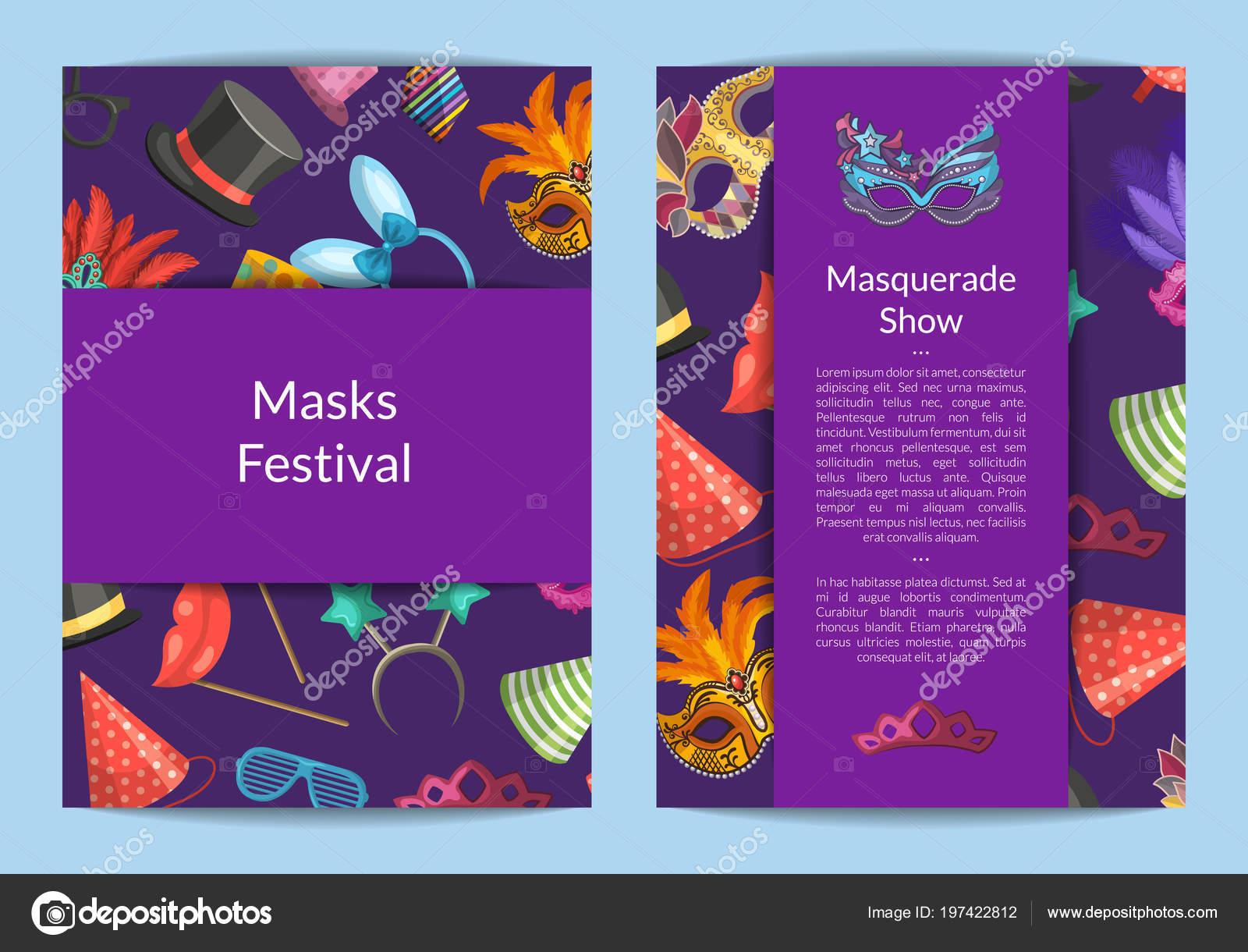 Vector tarjeta o flyer plantillas con máscaras y fiesta — Vector de ...