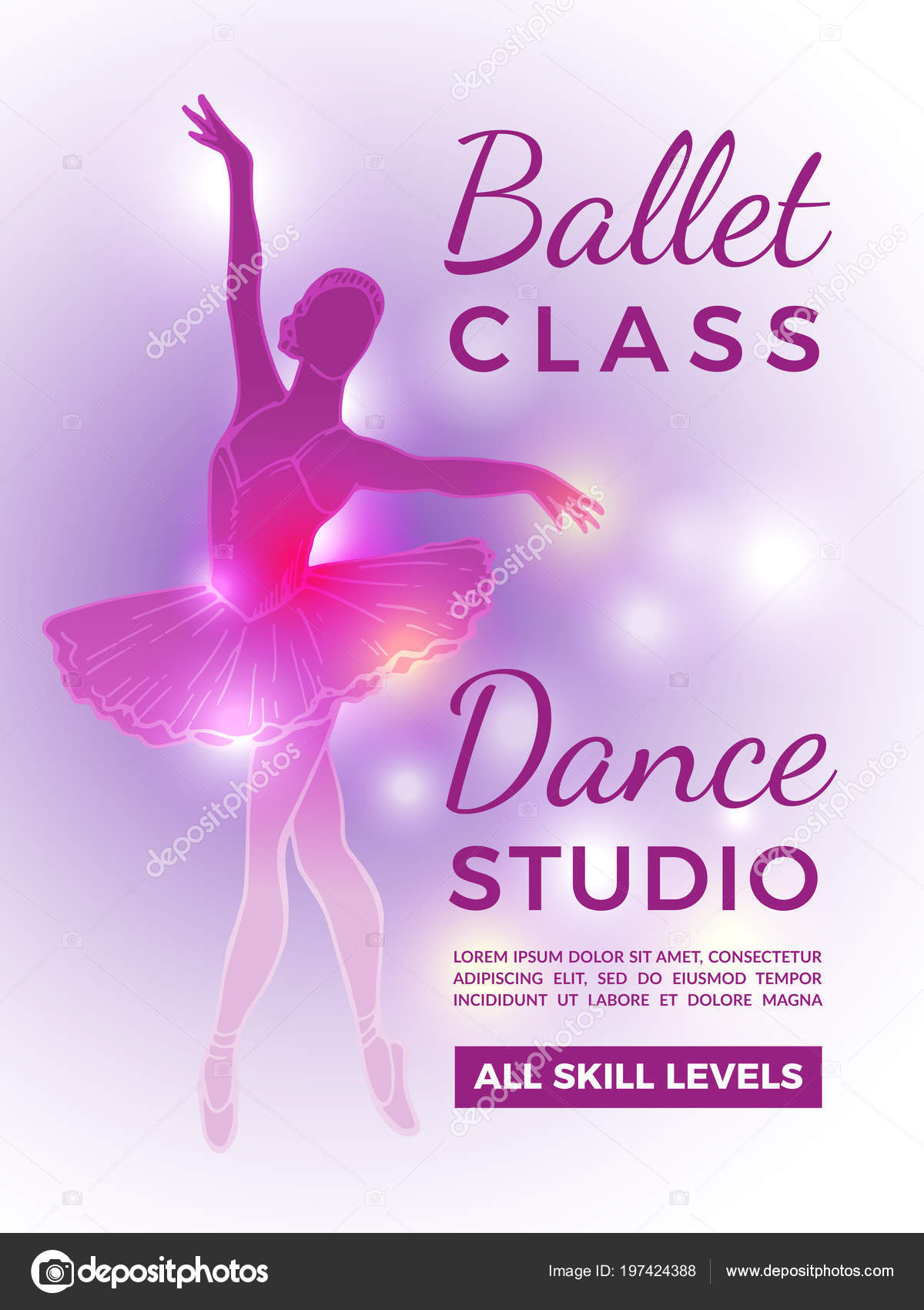 Poster Invitation In Ballet School Vector Design Template With