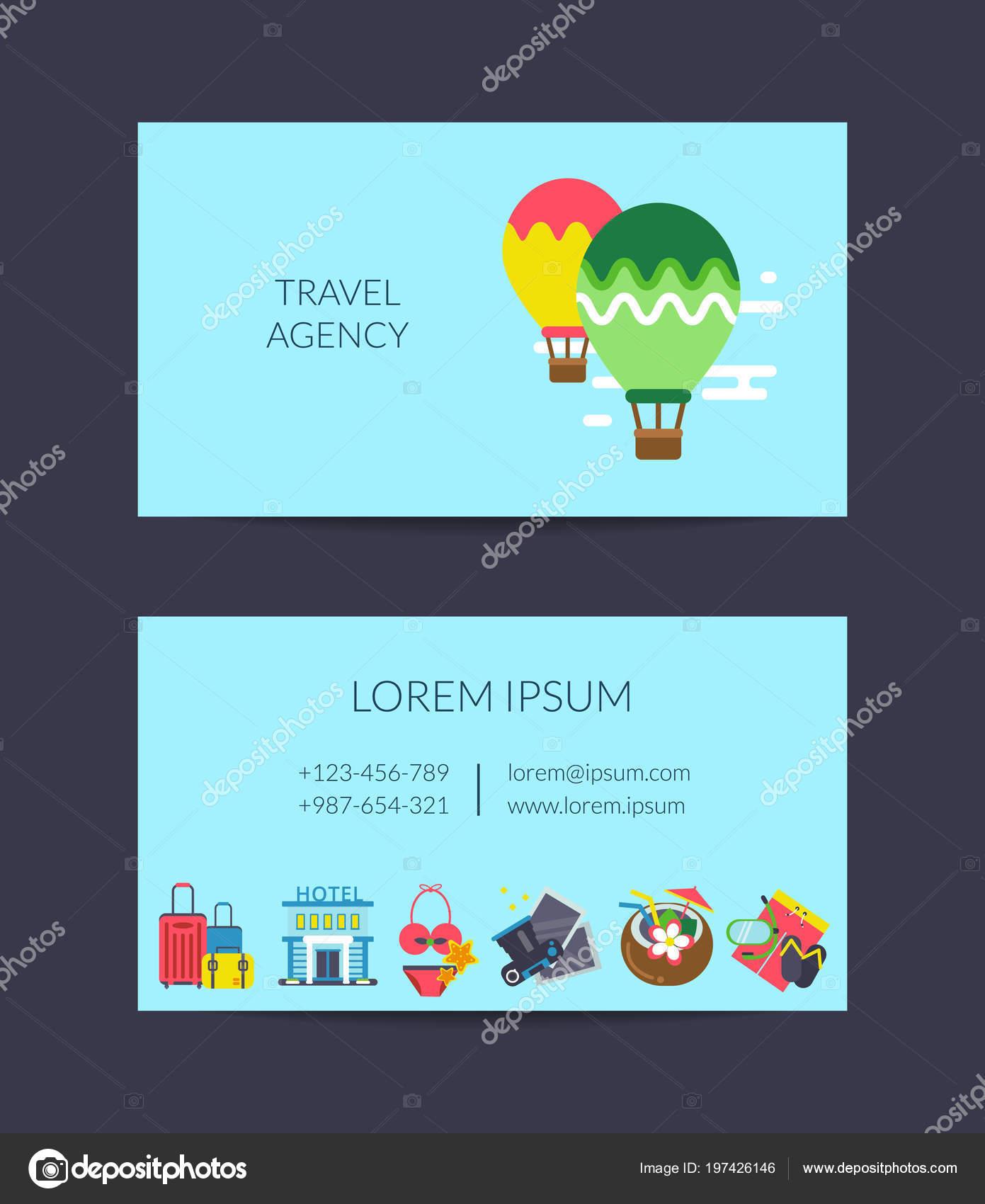 Modele De Carte Visite Elements Vecteur Voyage Plat Pour Agence Image Vectorielle