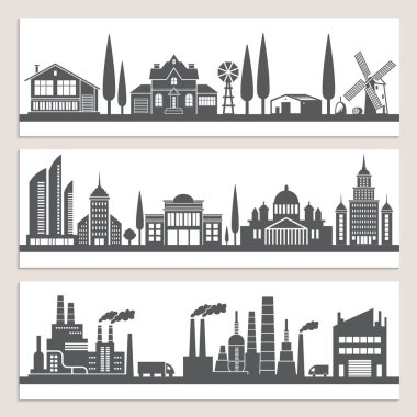 Set of horizontal banners with monochrome illustrations of urban landscapes. Silhouette of modern buildings