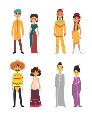 International group of peoples male and female. Characters of different nationalities. Mexican and japanese, indians and hindus, society culture people woman and man. Vector illustration