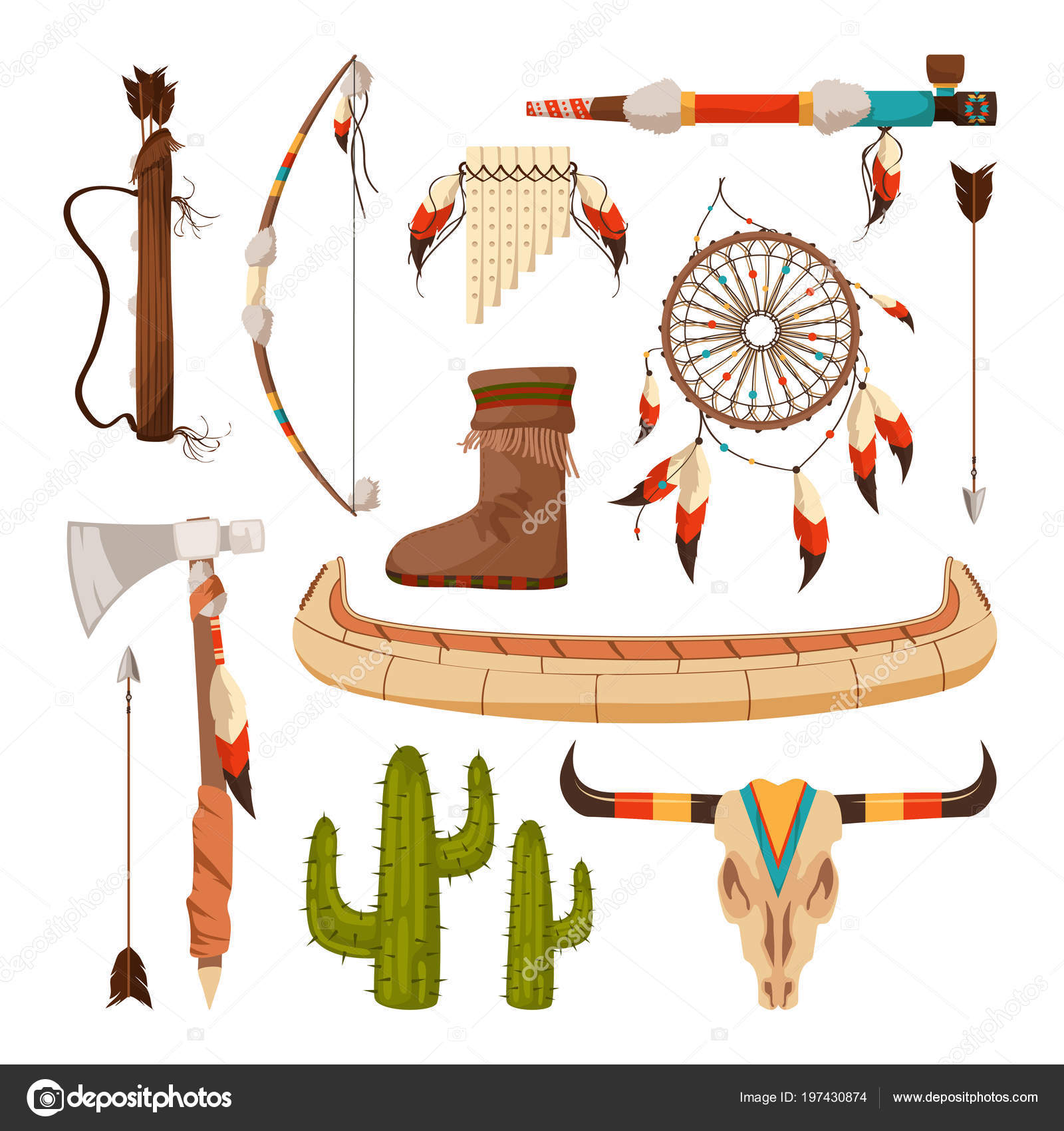 Ethnic And Tribal Elements And Symbols Of American Indians Stock