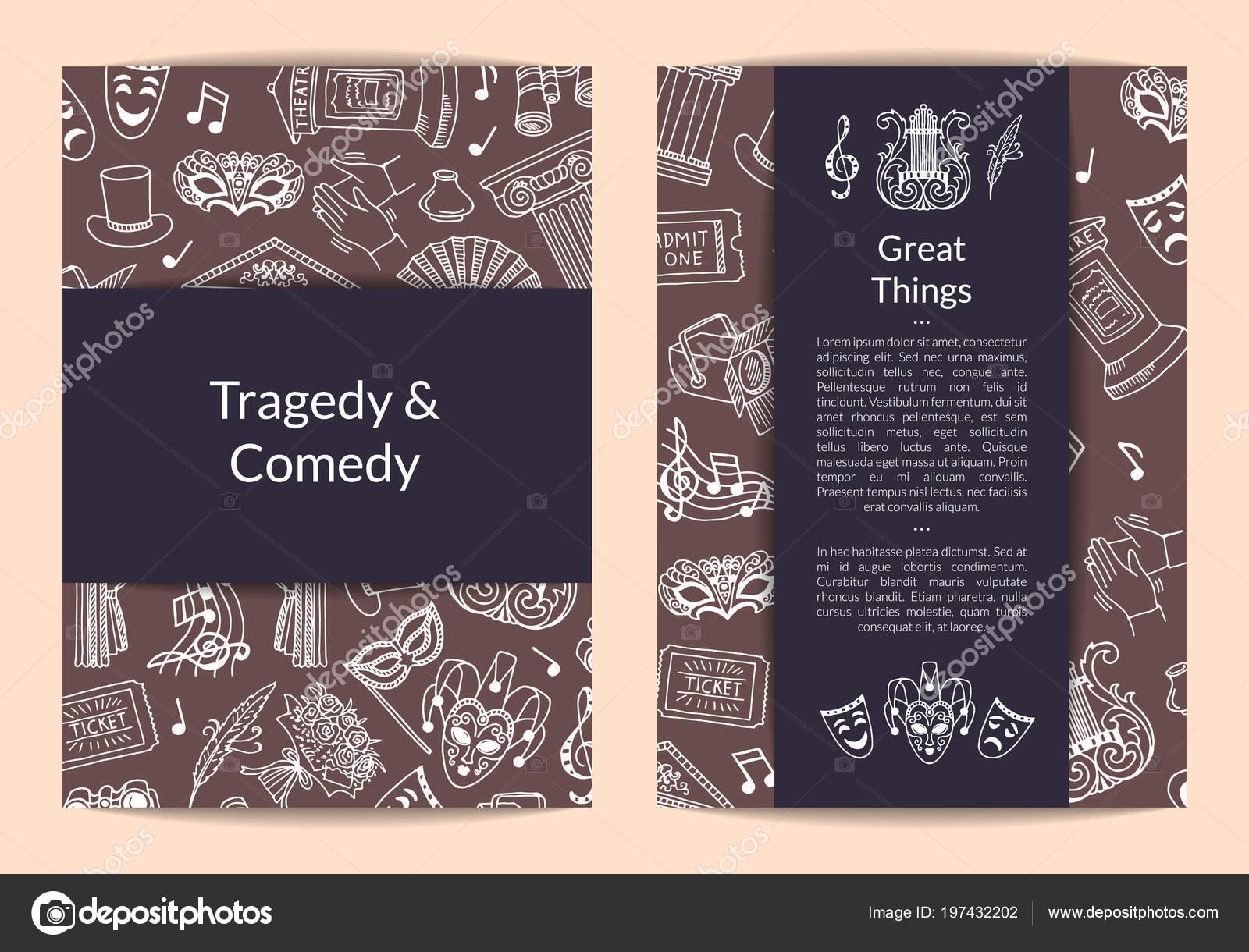 Vector doodle teatro elementos tarjeta, folleto o folleto plantilla ...