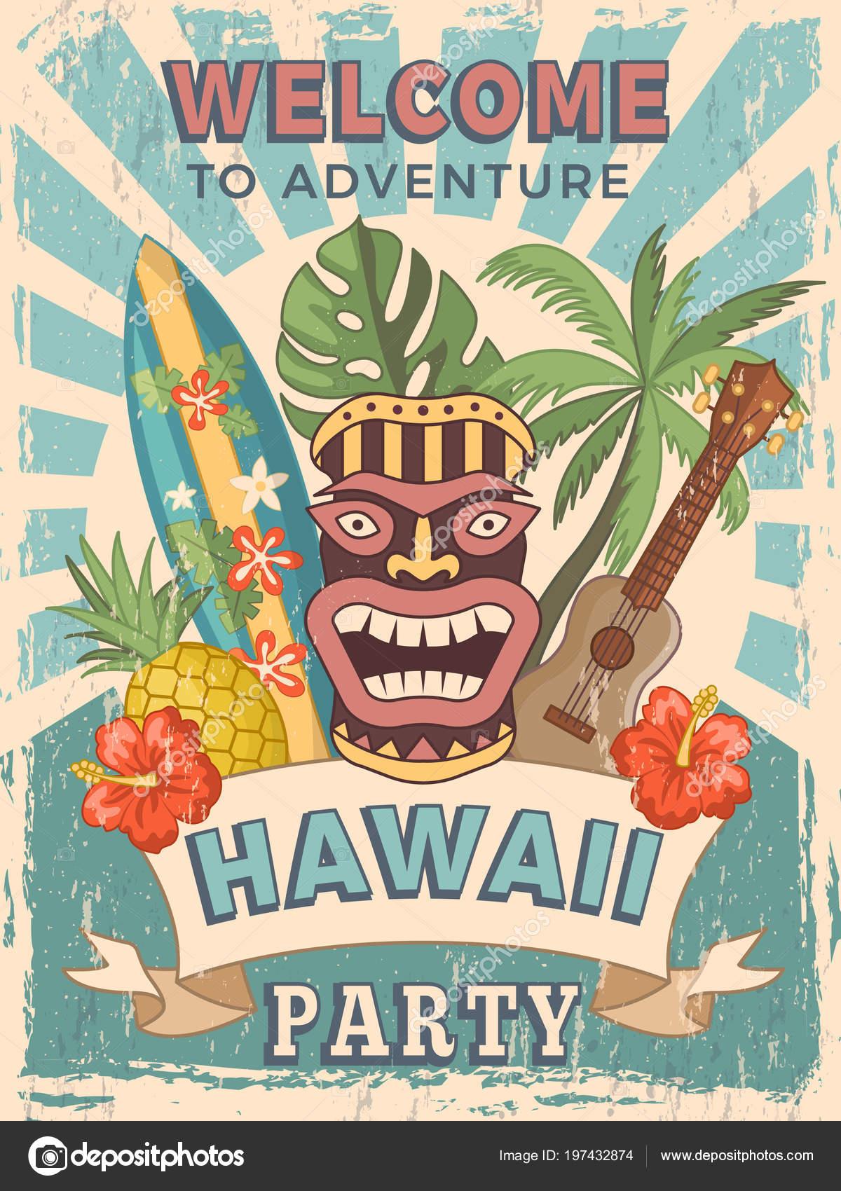 Design template of retro poster invitation for hawaiian party design template of retro poster invitation for hawaiian party stock vector stopboris Choice Image