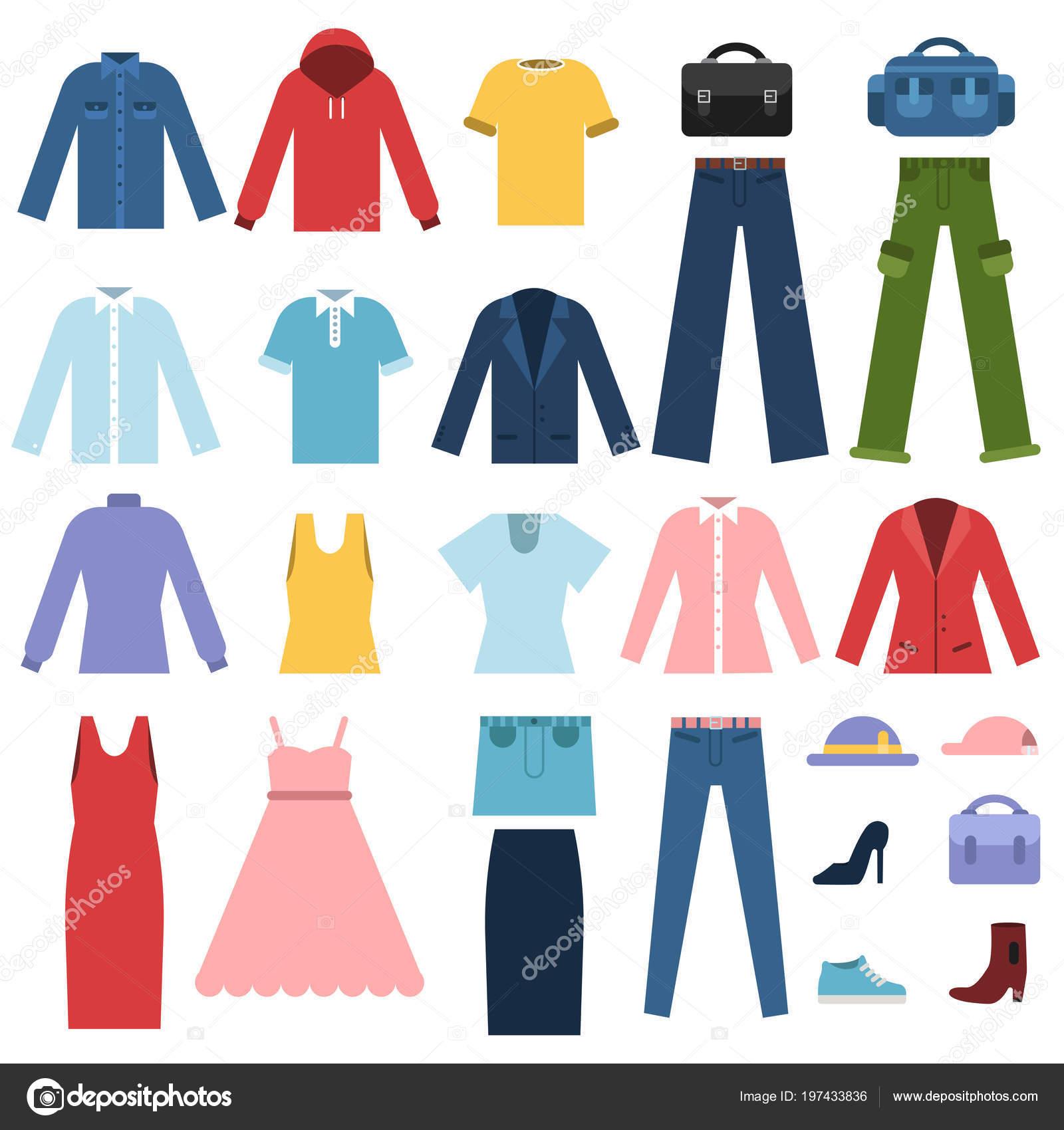 1a3c8d2ef9 Conjunto de ropa para hombre y mujer. Ilustración de vector moda ropa  masculina y femenina — Vector de ...
