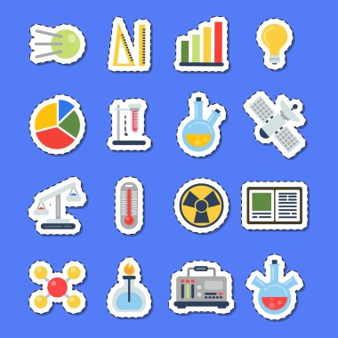Vector flat style science icons stickers with shadows set
