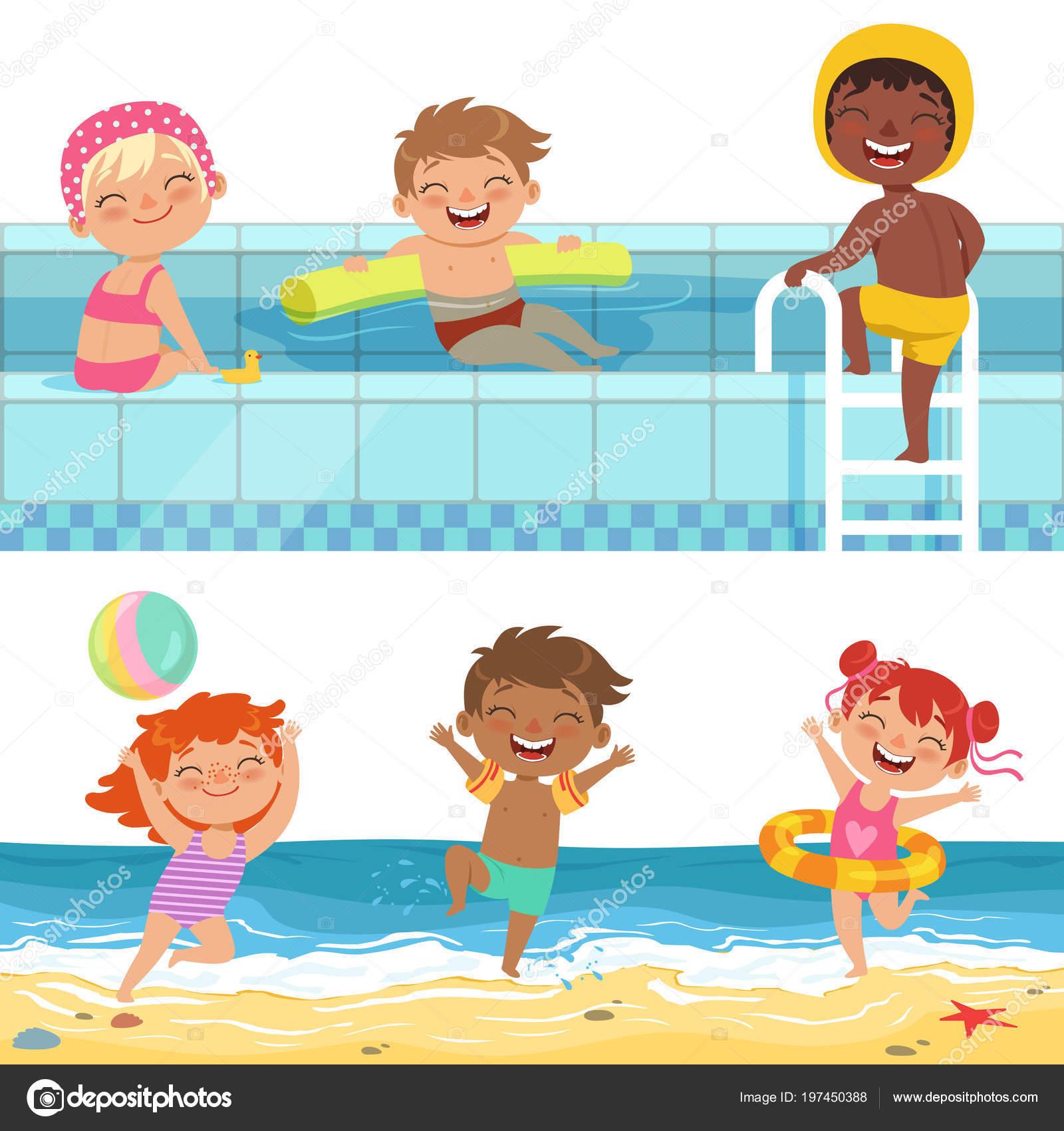 Letni Vodni Hry V Aquaparku Ilustrace Kreslene Vtipne Deti Stock
