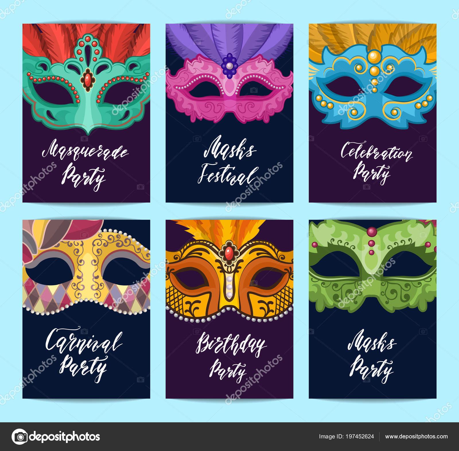 Vector tarjeta o flyer plantillas con ilustración de máscaras de ...