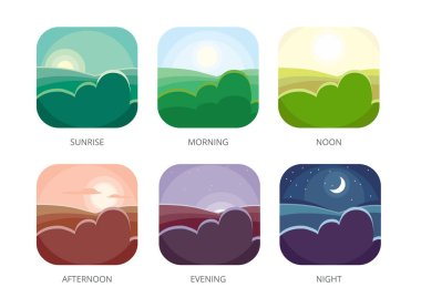 Visualization of various times of day. Morning, noon and night. Flat style vector illustrations