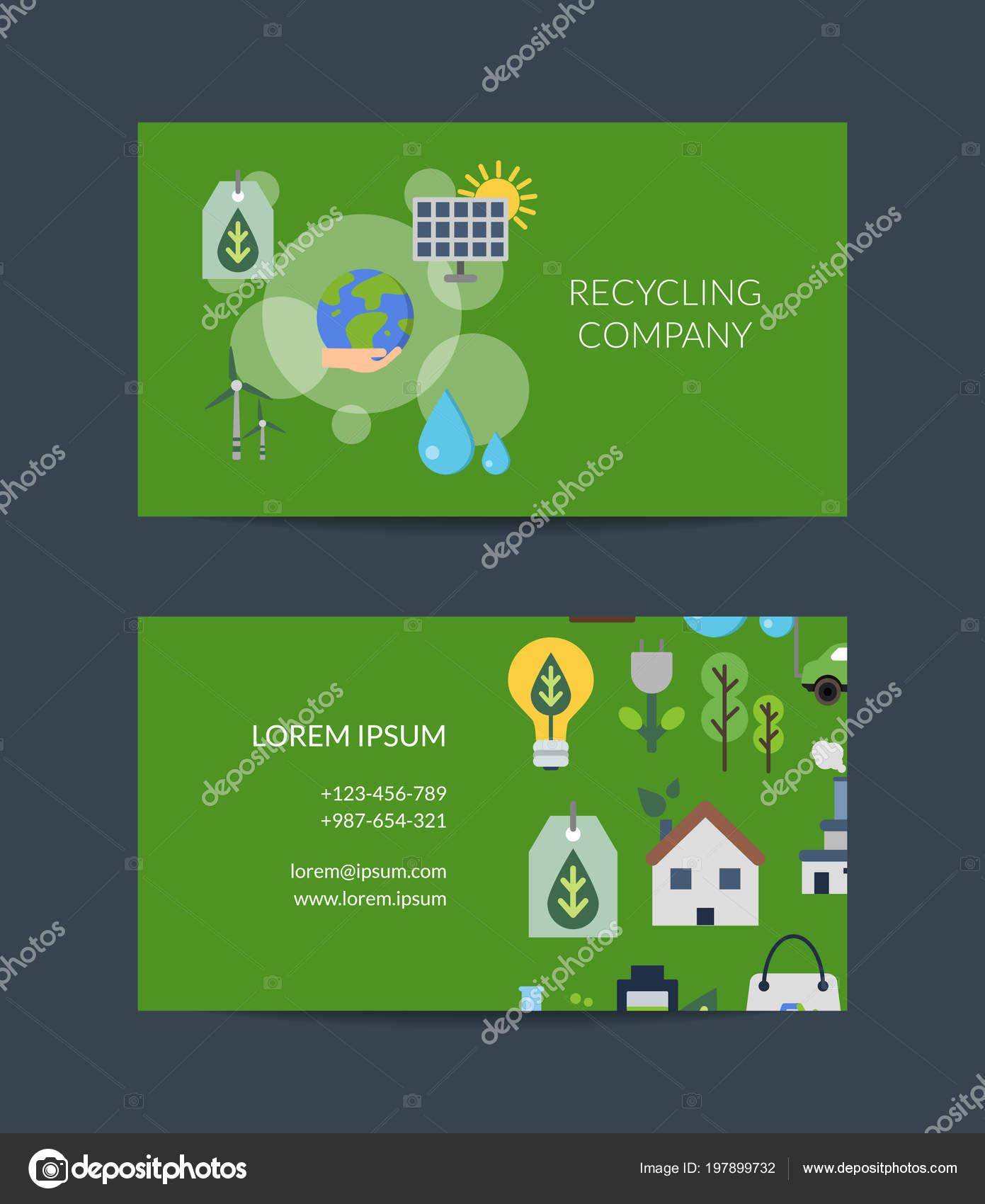 Vektor Visitenkarte Vorlage Für Das Recycling Stockvektor