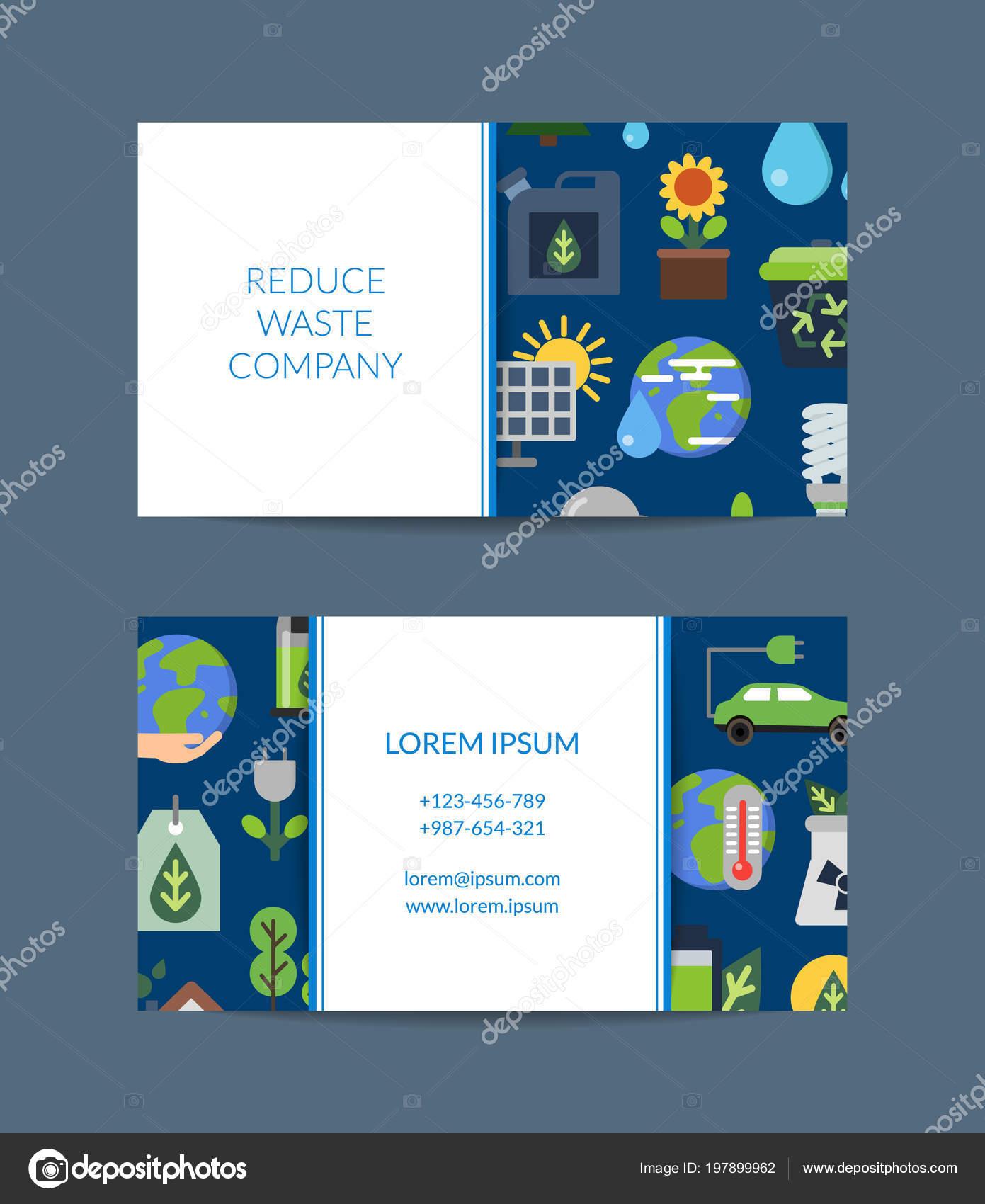 Vektor Visitenkarte Für Recycling Unternehmen Mit Flachen