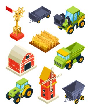 Architectural objects of farm or village. Isometric agricultural machines