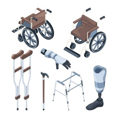 Isometric illustrations of wheelchair and other various objects for disabled peoples