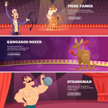 Banners of circus show. Vector illustrations of various circus artists