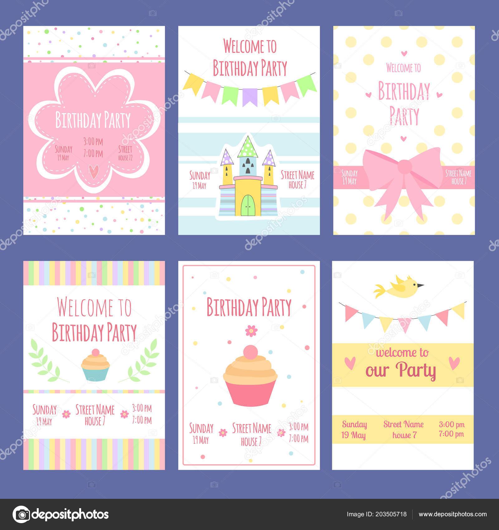 Tarjetas De Invitación De Cumpleaños Plantilla De Vectores