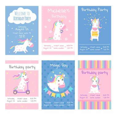 Cards invitations. Design template cards with pictures of cute unicorns