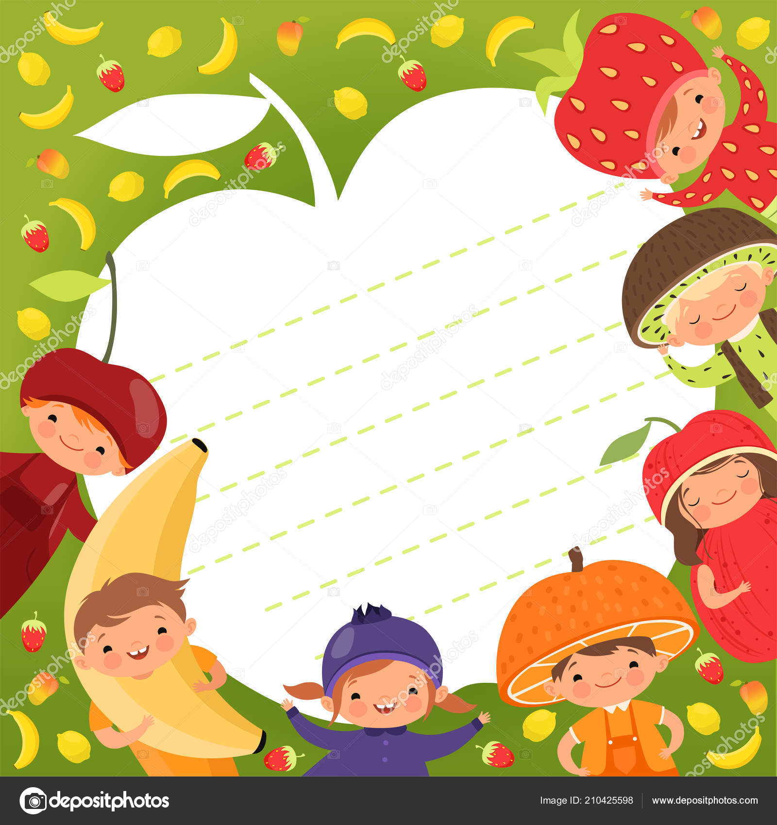 kids menu template colored background with illustrations of happy