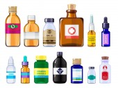 Fotografie Various medical bottles. Health care concept pictures of drugs bottles with labels