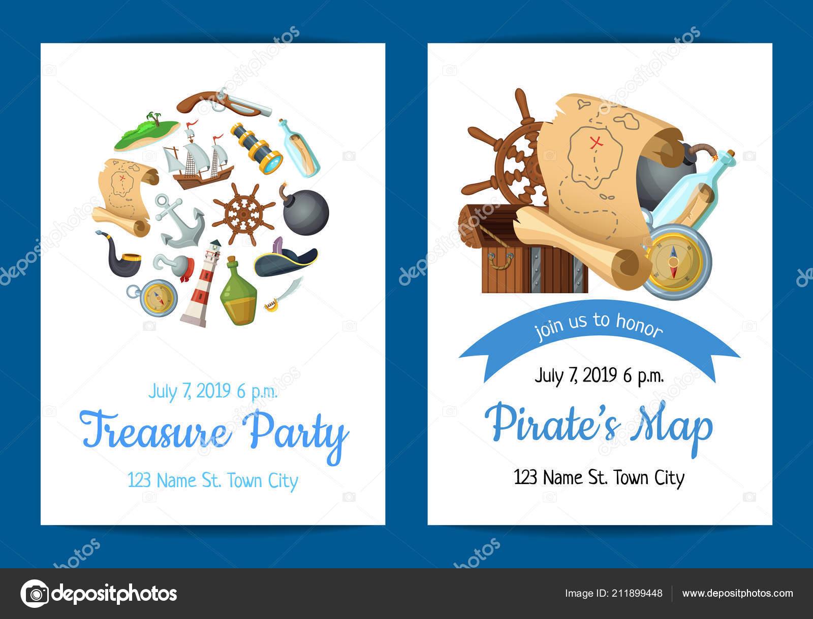 Cartoon Zee Piraten Verjaardag Partij Uitnodiging Sjabloon