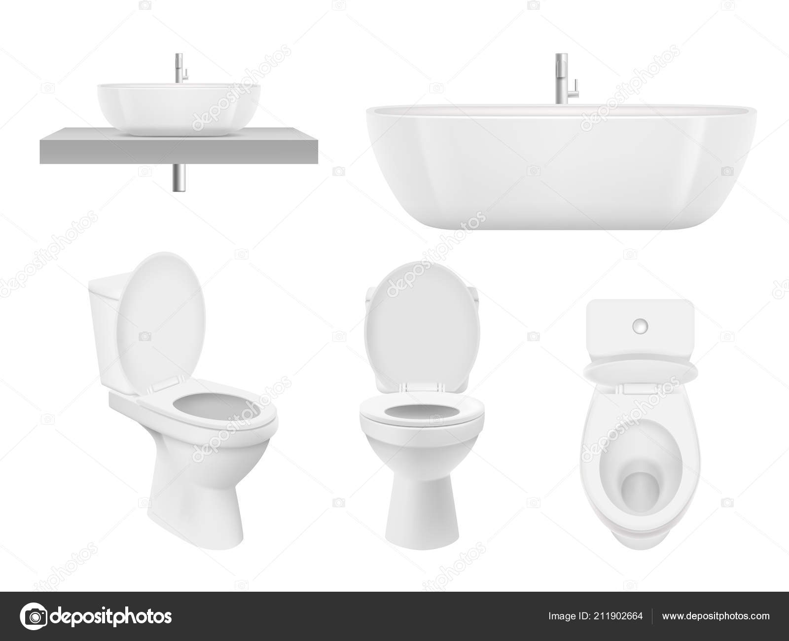 Realistic bathroom collection. Toilet, washing cabinet bowl bathroom ...